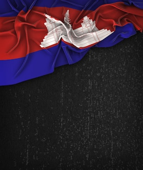 Cambodia flag vintage on a grunge black chalkboard with space for text