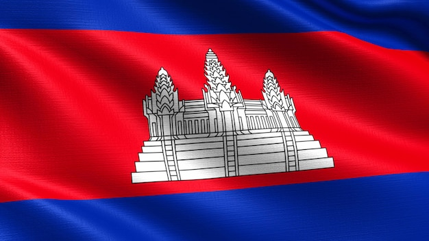 Cambodia flag, with waving fabric texture