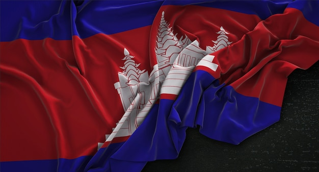 Флаг камбоджи морщинистый на темном фоне 3d render