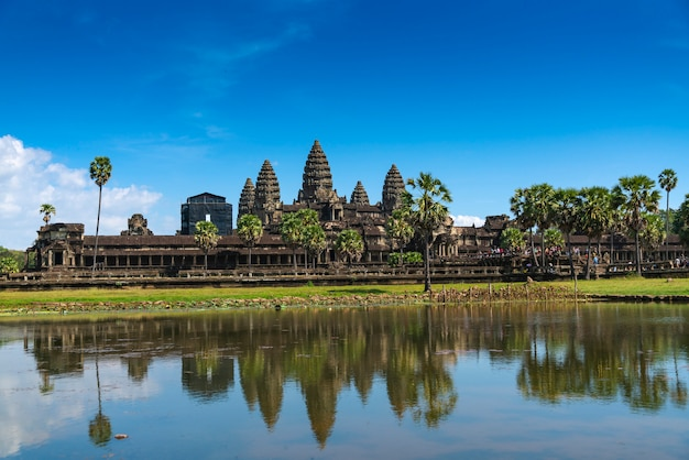 Cambodia, the old temple of angkor wat. view of the main entrance.