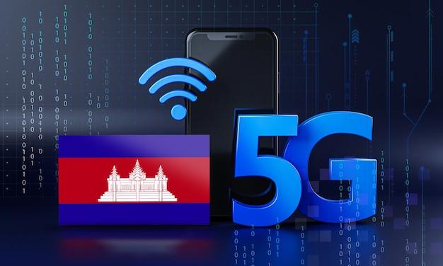 Камбоджа готова к концепции подключения 5g. 3d визуализация смартфон технологии фона