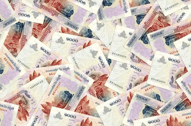 Cambodian riels bills lies in big pile rich life conceptual