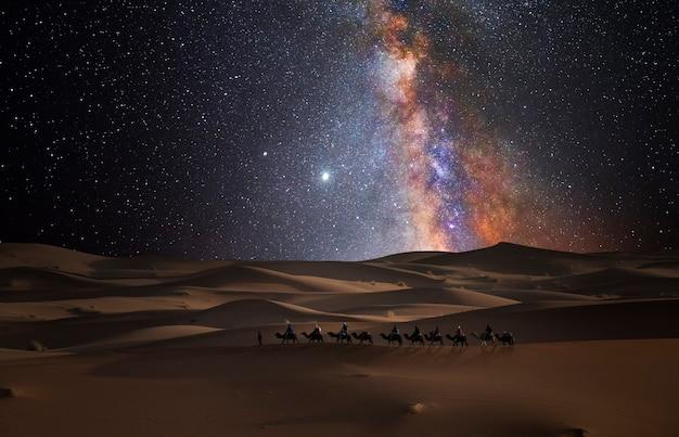 별 아래 사막에서 낙타 캐러밴