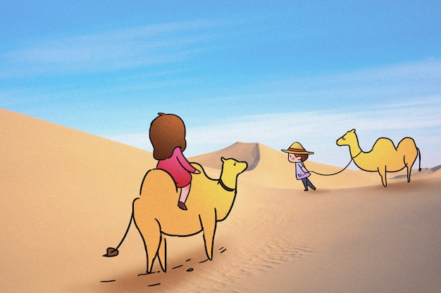 Camel in desert: creative photography illustration mixed