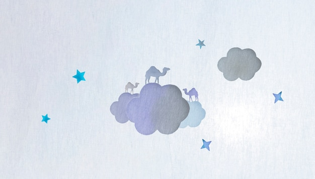 Camels and clouds made of paper