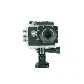 Camera action cam isolated on white .