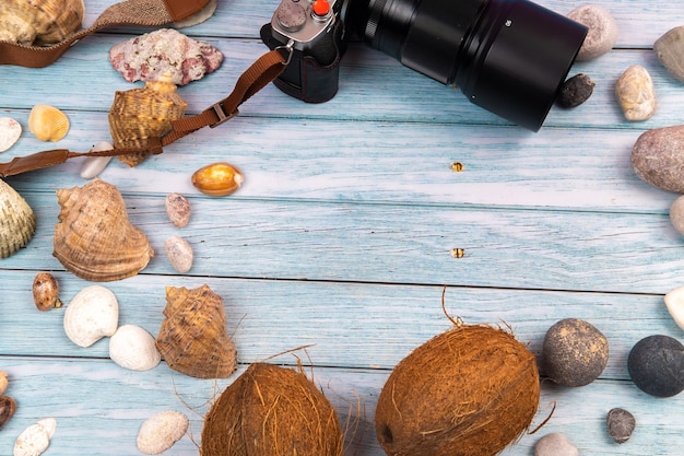 Camera,coconuts and shells on a blue wooden background.marine theme