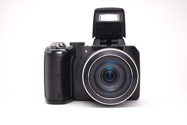 Camera front view on a white background