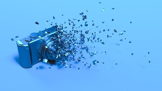 작은 부품, 3d 일러스트로 떨어지는 블루 네온 조명 카메라