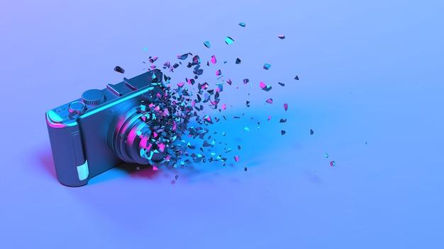 보라색 네온 조명의 카메라가 작은 부품, 3d 일러스트로 무너졌습니다.
