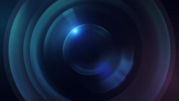 Объектив камеры с линзовыми отражениями. 3d рендеринг