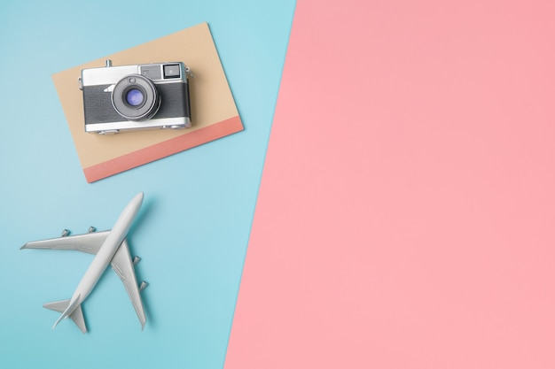 Camera and notebook for travel concept
