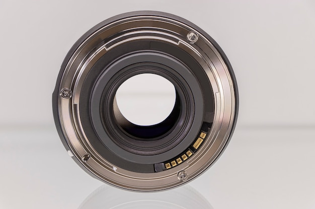 Camera or photo camera lens on a white background. close-up. macro shooting.
