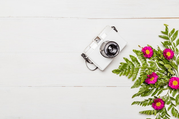Camera and pink flowers with green leaves
