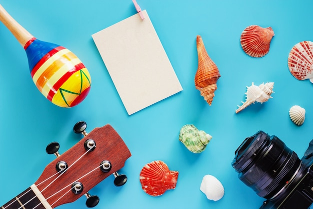 Camera, ukulele, maracas, blank paper postcard and sea shells on blue background