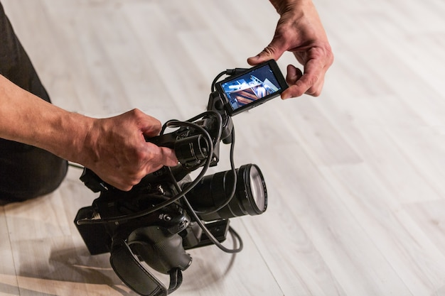 The cameraman shoots the camera
