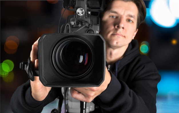 Cameraman working with camera   isolated