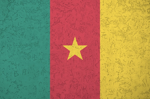 Cameroon flag depicted in bright paint colors on old relief plastering background