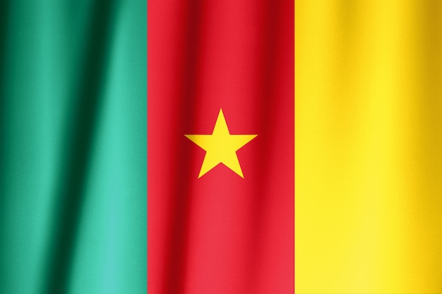Cameroon flag pattern on the fabric texture