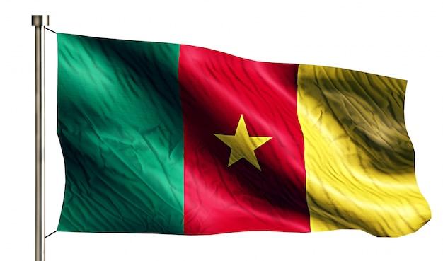 Bandiera nazionale del camerun isolato 3d sfondo bianco