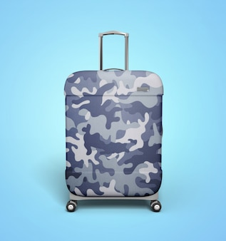 Camo Blue Suitcase
