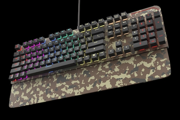 Camouflage colored computer keyboard with rgb color isolated on black