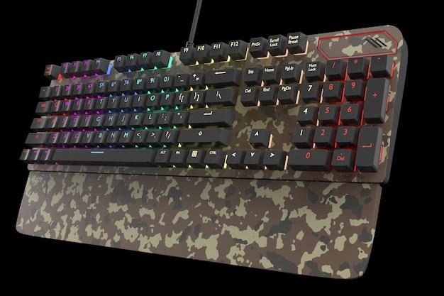 블랙에 고립 된 rgb 색상으로 위장 색 컴퓨터 키보드