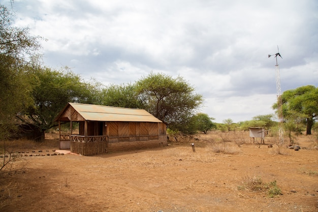 Camp in the savannah of kenya, on safari in the wildness