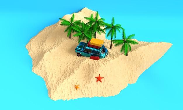 Автофургон на песчаном пляже 3d визуализации