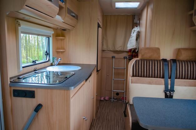 Camper van, rv, caravan interior. motorhome for family holiday travel