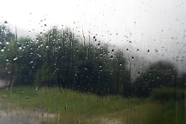 Camper window with rain drops