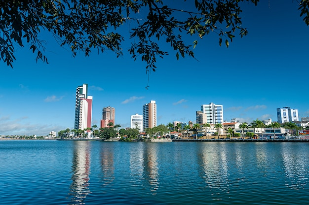 Campina grande paraiba brazil, view of the old weir with city buildings