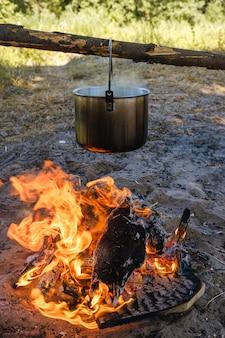 キャンプ、水の鍋が火の上に沸騰します。