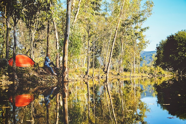 Camping in a forest. morning scene with tourist tent in green forest near of the lake