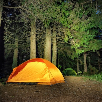 Camping in the forest. orange illuminated tent under dark night trees
