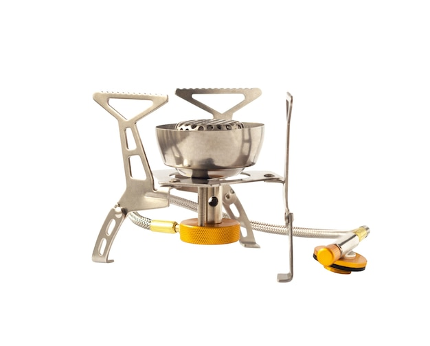 Camping gas stove isolated on white background