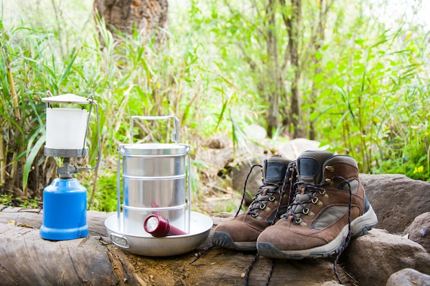 Camping and hiking equipment outdoor