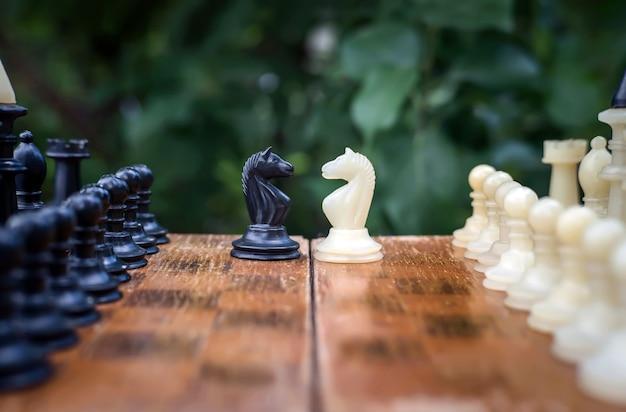 체스 게임에서 캠핑. 2명의 체스 기사가 나무 배경의 보드 위에 서 있다