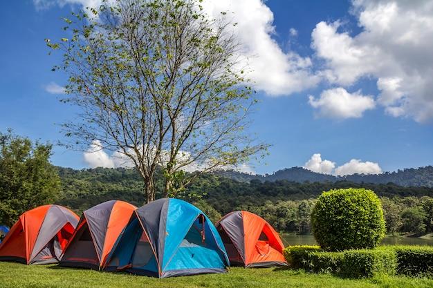 緑の草と青空の公園でのキャンプ