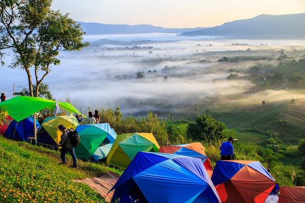 Camping and mountain view with the sea of mist in the morning and twilight of sunrise in t