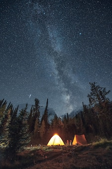 Camping in pine forest with milky way and shooting star at assiniboine provincial park
