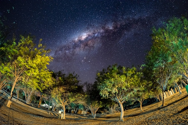Camping under starry sky and milky way arc, with details of its colorful core, outstandingly bright, captured in southern africa. adventure into the wild.
