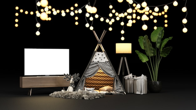 Camping tent and lighting decoration with a tv screen rendering