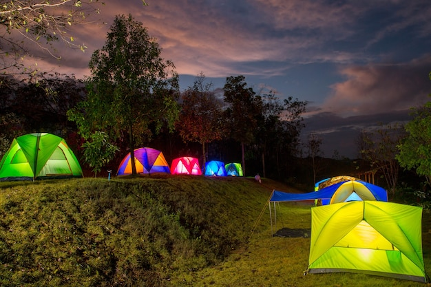 Camping tent point in thailand with twilight time.