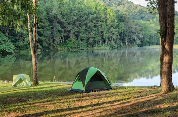 Camping tents near lake at pang oung in mae hong son, thailand