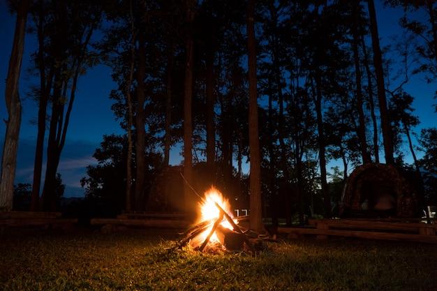캠프 파이어 풍경과 캠핑