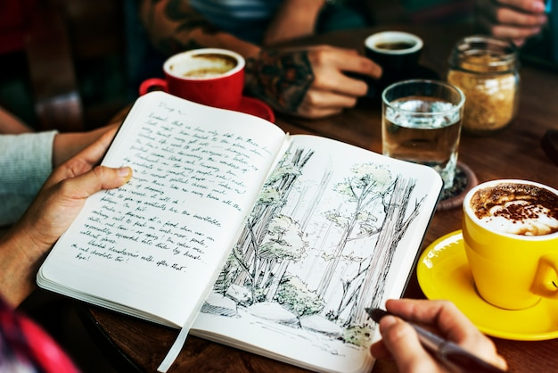 Camping writing coffee vacation break concept