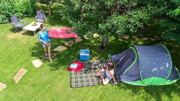 Campsite aerial view from above