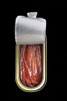 Can of anchovies isolated