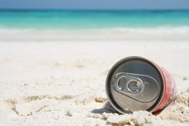 Can on beach